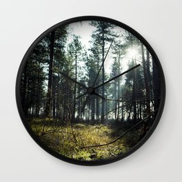 Inside the pine forest Wall Clock