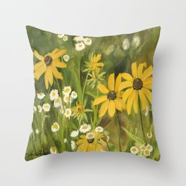 Watercolor Black Eyed Susan Wildflower Botanical Garden Flower Throw Pillow