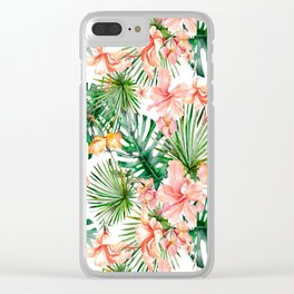 Tropical Jungle Hibiscus Flowers - Floral on #Society6 Clear iPhone Case