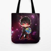 chibi Tote Bags featuring Chibi Kamui by Neo Crystal Tokyo
