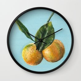 Cute Little Oranges Growing on a Tree Wall Clock