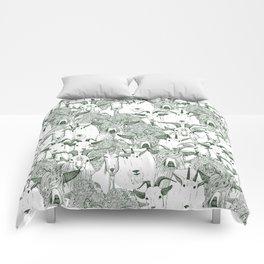 just goats dark green Comforters
