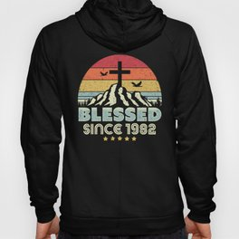 Blessed Since 1982 Design. Vintage, Christian Birthday Gift Product Hoody