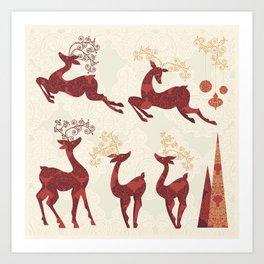 Deer. Winter Holidays! Art Print