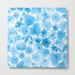 Around the World Flowers - Blue Metal Print