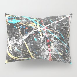 Abstract teal yellow paint splatters gray marble Pillow Sham