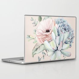 Elegant Blush Pink Succulent Garden by Nature Magick Laptop & iPad Skin