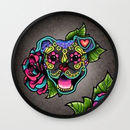 Smiling Pit Bull in Blue - Day of the Dead Pitbull Sugar Skull Wall Clock