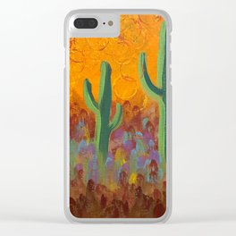 Saguaros Dreaming Clear iPhone Case