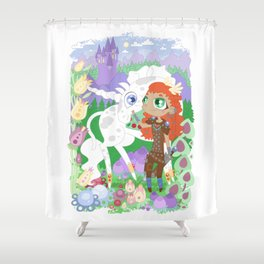 the Valkyrie and the Unicorn below the Mountain Castle Shower Curtain