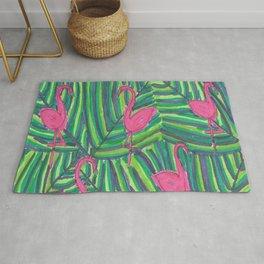 Flamingo Palm Leaves Rug