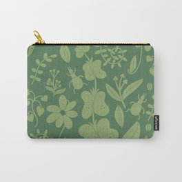 Springtime in Tokyo Modern Floral Print in Green Carry-All Pouch