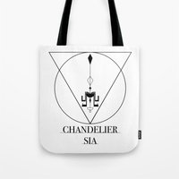 sia Tote Bags featuring Chandelier Sia  by Sebastian A