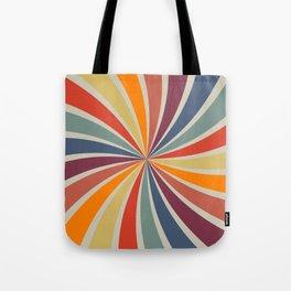 Spiral Stripe Retro Rainbow Tote Bag