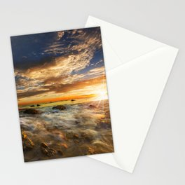 Pictures USA Matador State Beach Malibu Sun Nature Sky Scenery Sunrises and sunsets stone Coast Clouds sunrise and sunset landscape photography Stones Stationery Cards