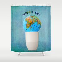 world cup Shower Curtains featuring World cup by Anne Seltmann