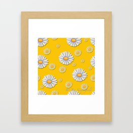 Tossed White Daisies Yellow Background Framed Art Print
