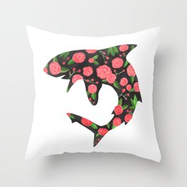 Floral Shark Throw Pillow