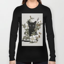 Cat With Flowers Long Sleeve T-shirt