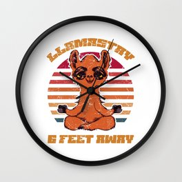 Stretch Exercise Breathe Llamaste Alpaca Design T-shirt Llamastay 6Ft Away Yoga Practitioner Llama Wall Clock
