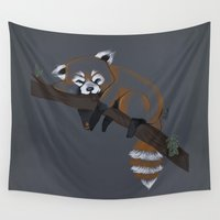 raccoon Wall Tapestries featuring raccoon by Andrea Lacuesta Art
