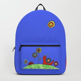 Summer Joy - Abstract Snail and Flowers Backpack