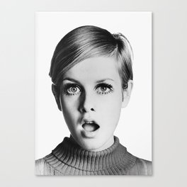 Twiggy, Retro Fashion Icon, Vintage Black and White Art Canvas Print