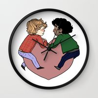 grantaire Wall Clocks featuring Enjolras and Grantaire in love by Antisepticbandaid
