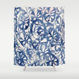 Organic Abstract in Blue Shower Curtain