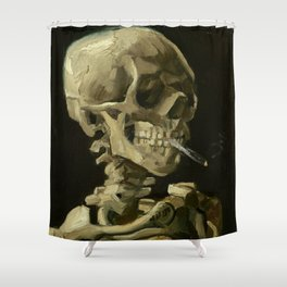 Skull of a Skeleton with Burning Cigarette Painting by Vincent van Gogh Shower Curtain