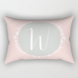 Garland Initial W - Grey Rectangular Pillow