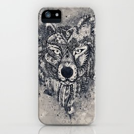 Geometric Wolf Mandala iPhone Case