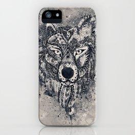 Geometric Wolf Mandala iPhone Case