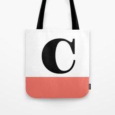 Monogram Letter C-Pantone-Peach Echo Tote Bag