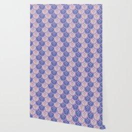 Mid Century Modern Flower Pattern Lavender and Blue 112 Wallpaper