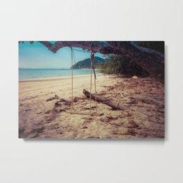 Peaceful Swing on Beach in Thailand Metal Print