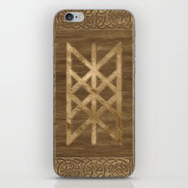 Web of Wyrd The Matrix of Fate - Gold and Wood iPhone Skin