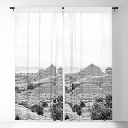 desert mountains abstract nature landscape photography in black and white Blackout Curtain