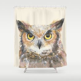 Owl Watercolor Great Horned Owl Painting Shower Curtain