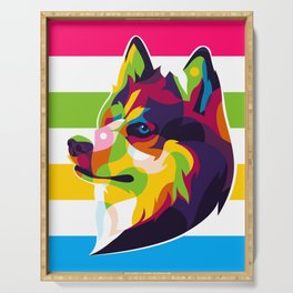 Colorful Siberian Husky Dog Serving Tray