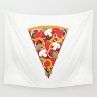 valentina Wall Tapestries featuring PIZZA POWER - VEGO VERSION by Daisy Beatrice
