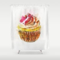 cupcake Shower Curtains featuring Cupcake by Manuela Mishkova