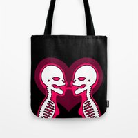 lesbian Tote Bags featuring Mouth To Mouth (Lesbian) by Eat Yr Ghost