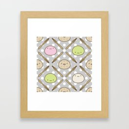 Mochi Kochi | Pattern in Grey Framed Art Print