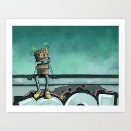 Mr. Boxy Robot Art Print