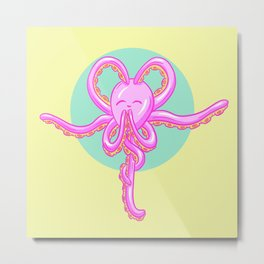 Tranquil Meditation Yoga Octopus Cartoon Metal Print