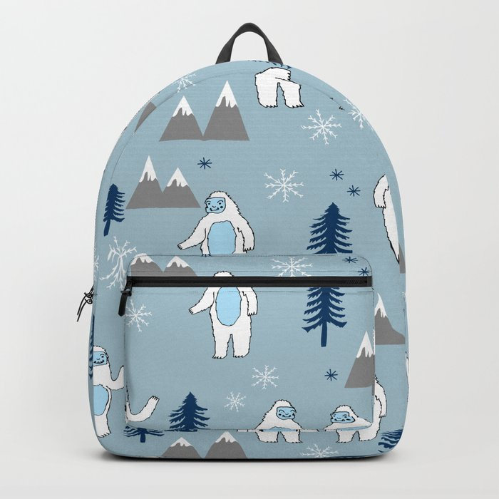 Yeti winter christmas cute forest pattern kids nursery holiday gifts Backpack