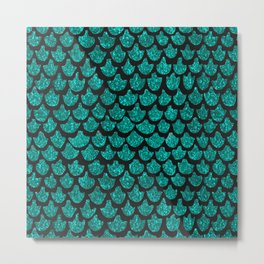 Mermaid Glam // Turquoise Glitter Watercolor Scales on Charcoal Chalkboard Metal Print