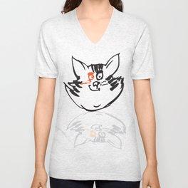 Cat with orange eye Unisex V-Neck