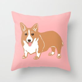 Pembroke Welsh Corgi Art Throw Pillow